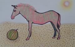 粉色斑马和西瓜