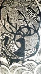 创意版画《月鹿》