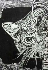 创意版画《猫》