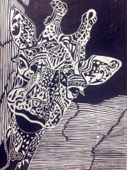 创意版画《长颈鹿》