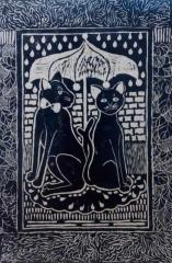创意版画《猫·浪漫时光》