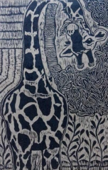 创意版画《鹿》