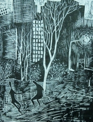 创意版画《夜·城》